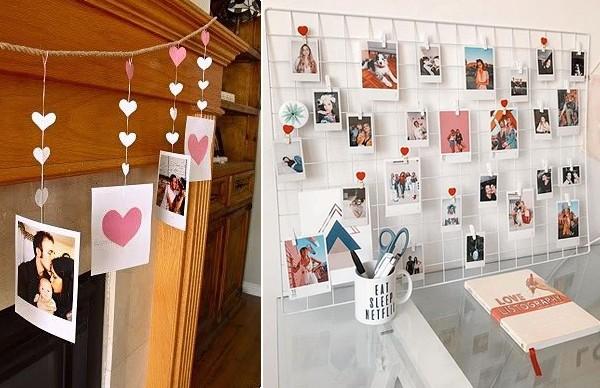 Фото влюбленных дополнены сердечками из бумаги