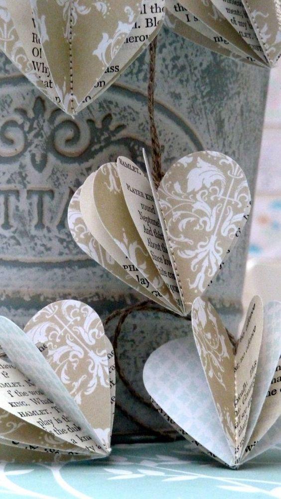 Сердечки из крафтовой бумаги