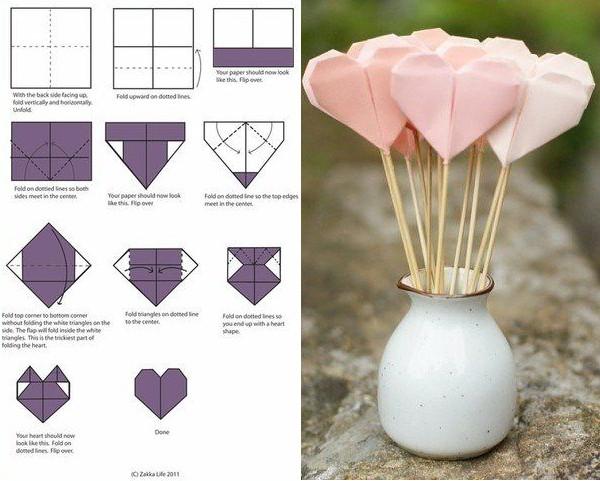 Сердечки оригами для начинающих