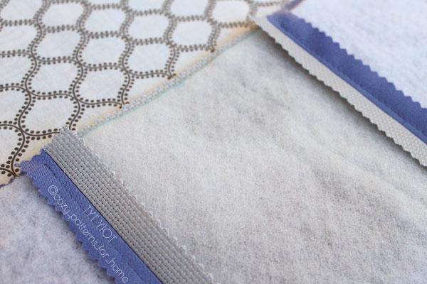выравниваем синтепон относительно ткани