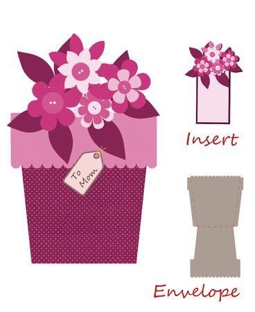 открытка вазон с цветами