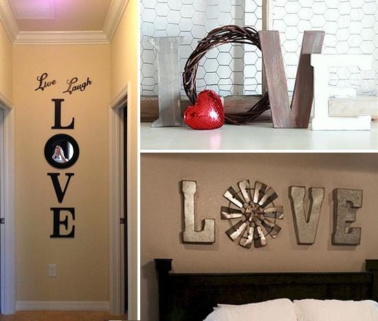 Надпись LOVE в интерьере