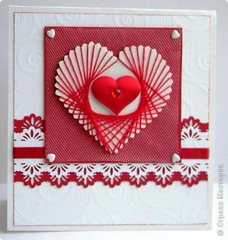 красивая валентинка нитями