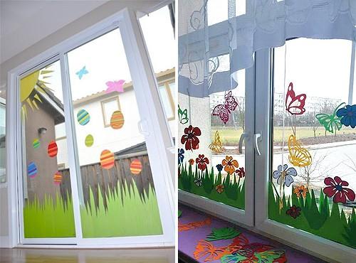 декор окна к пасхе