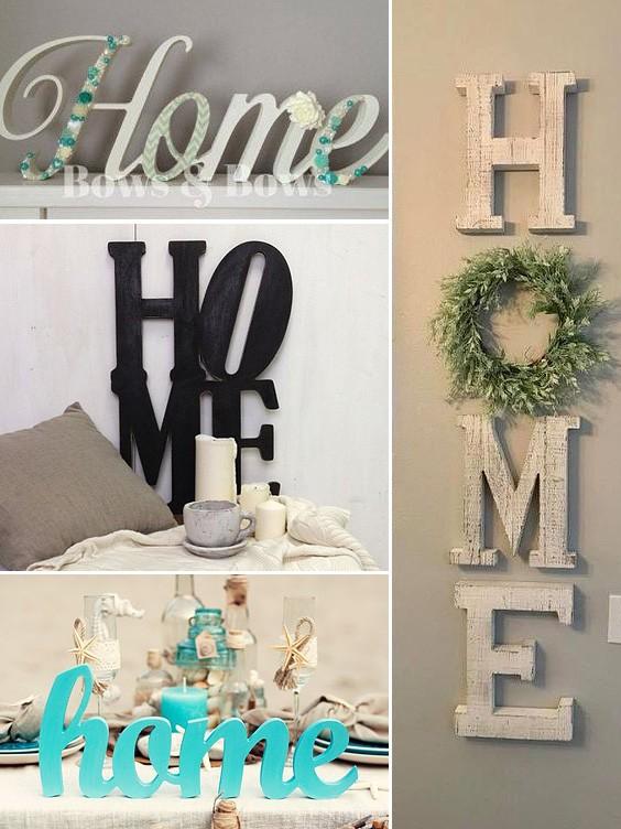 Слово HOME в интерьере