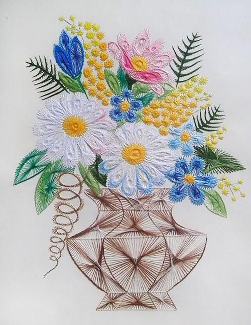 Букет полевых цветов Изонить