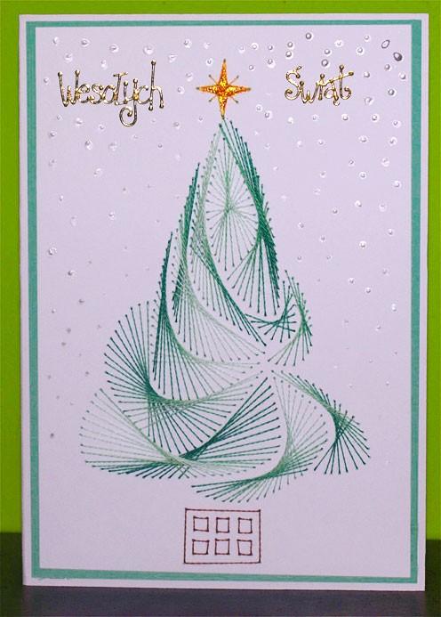 елка Изонить на открытке