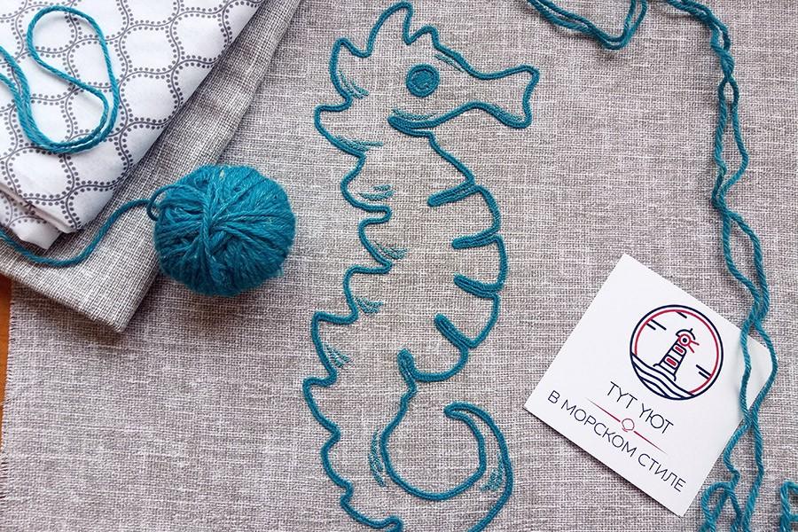 Контурная вышивка морской конек