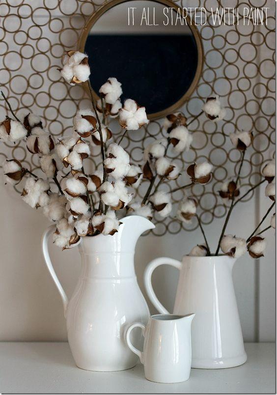 сухоцветы хлопок в вазе