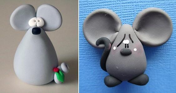 несложный мышонок из пластилина