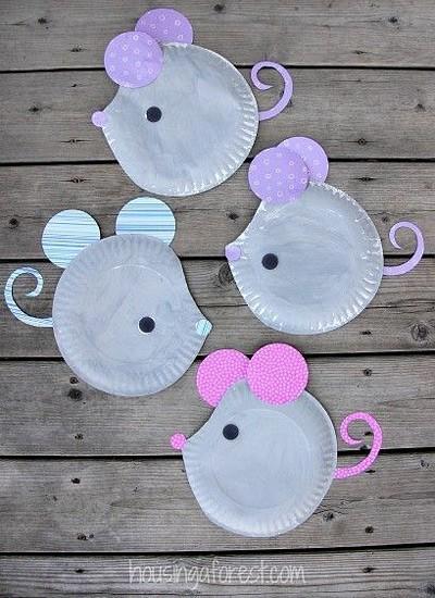 мышки из одноразовых тарелок