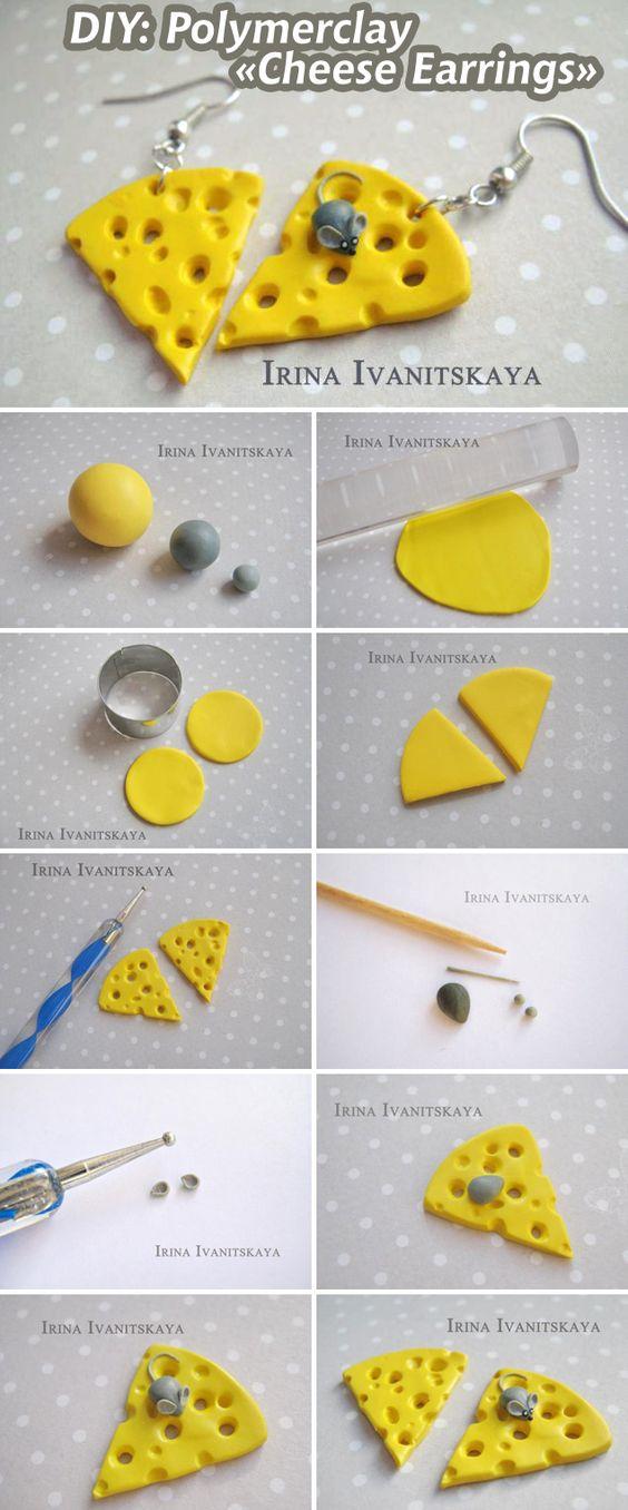 Мышь и сыр — асимметричные серьги