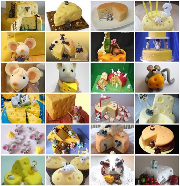 Много тортов и фигурок мышек