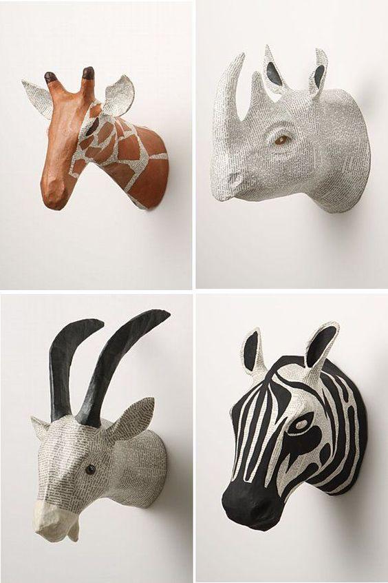 Декоративные панно в виде голов африканских животных